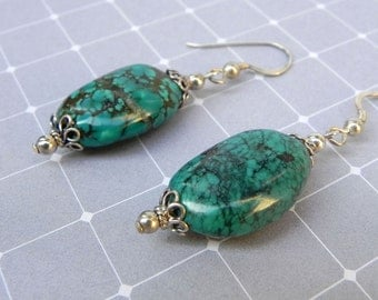 Natural Turquoise earrings with sterling silver FREE Shipping