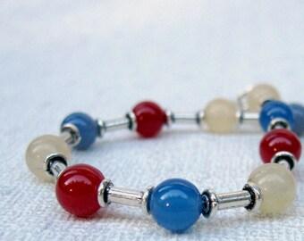 Colorful Sterling Silver bracelet with Jade, Onyx & Citrine, multi color bracelet, Red bracelet, Blue bracelet, Yellow bracelet