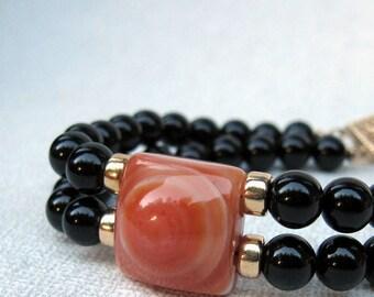 2 strand Black Onyx bracelet with Orange Chalcedony & gold-filled accents, Orange bracelet, Black bracelet, Gold bracelet