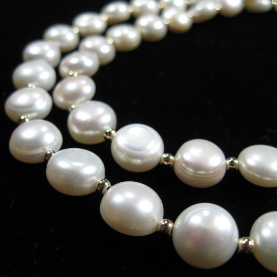 White coin pearl necklace with gold-filled accents, Multi strand pearl necklace, coin pearl earrings, bridal jewelry
