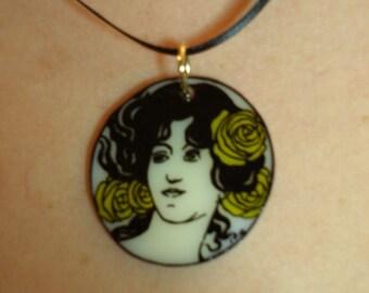 Art Nouveau shrink art pendant