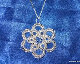 True Silver Tatted Flower Pendant