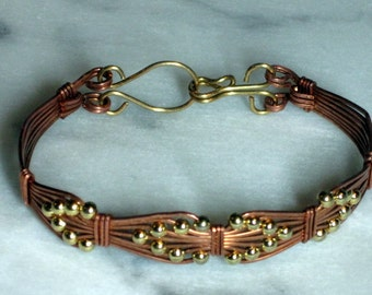 Copper Bracelet with Interwoven Gold-Plated Beads