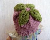 Leafy Pink Baby Hat - Organic Merino Wool