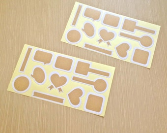 Blank stickers in kraft paper - 11 shapes - 33 pcs (3 sheets/set)