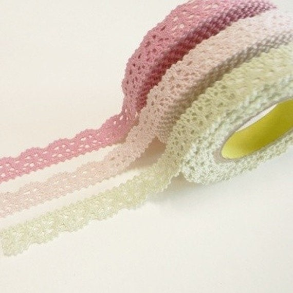 Crochet lace deco tape ( 3 different colors )