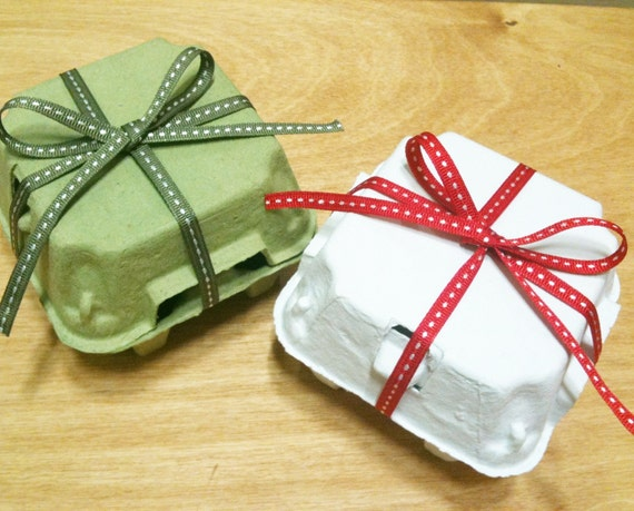 10 Egg Cartons in White / Green (4 Holding Type)