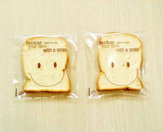 50 Smile Print self sealing Cello bags -  Large size