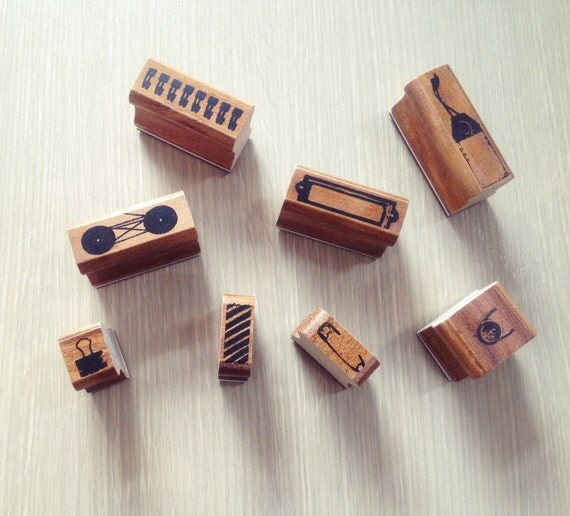 Wooden stamps set (including 8 stamps and ink pad in Black)