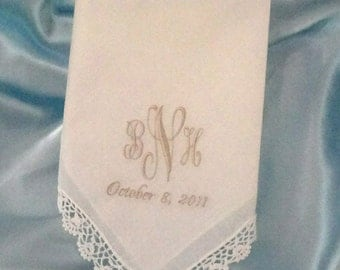 Wedding Handkerchief Ladies Personalized White 100% Cotton