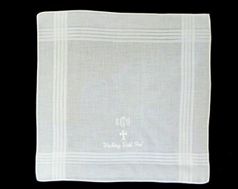 Men's Personalized Wedding/Memorial White Cotton Blend Handkerchief Custom Monogrammed