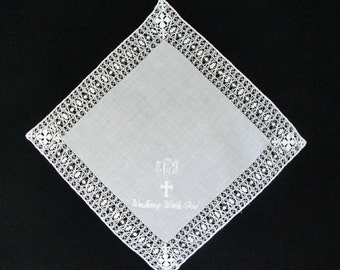 Personalized Ladies Venice Lace Embroidered White Wedding Handkerchief-Monogramming Included