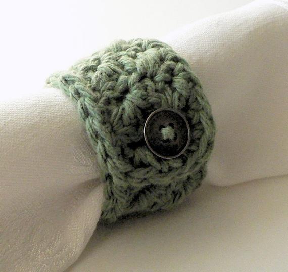 Ready to Ship Sage Green Cotton Napkin Rings Set