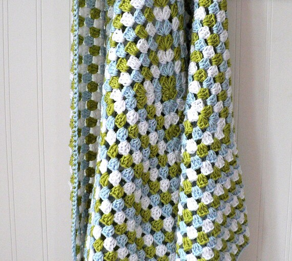 READY TO SHIP Square Afghan Throw - Soft Blue, Lime Green, White