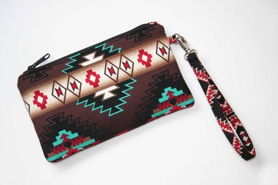 Southwestern Wristlet Clutch - 2 Credit Card Slots - Native American Navajo Fabric - Pro Padding & Zipper