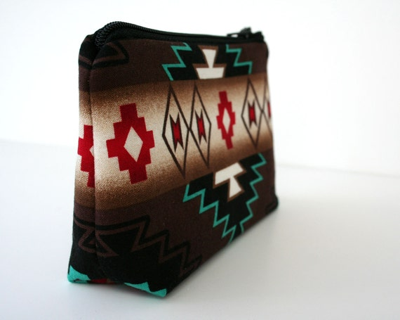 Small Makeup Bag - Southwestern - Navajo Fabric- Gadget Case