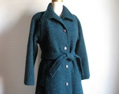 Vintage 1960s Teal Mohair Wool Boucle Coat
