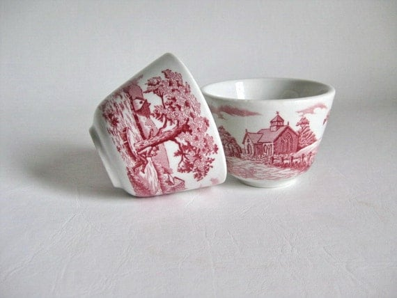2 Little Bowls Red Transferware Country Scenes
