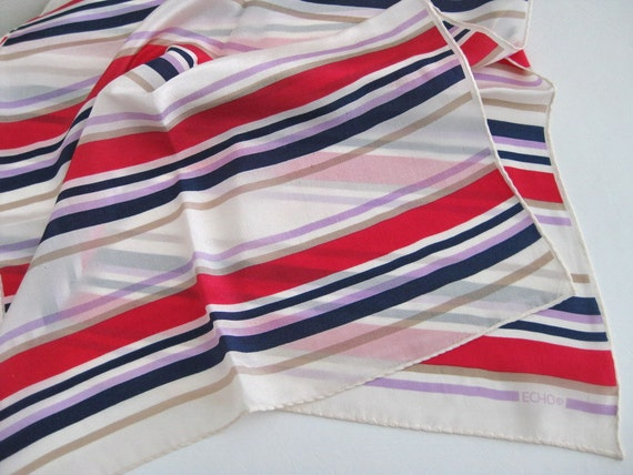Echo Nautical Stripes Silk Scarf Oblong Vintage Hand Rolled