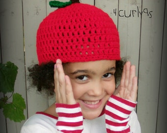Crochet apple hat 0-6 6-12 12-24 months 2t 3t 4t 5t child youth adult CUSTOM