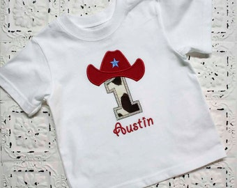 Cowboy Birthday Shirt- FREE PERSONALIZATION- Letter or Number