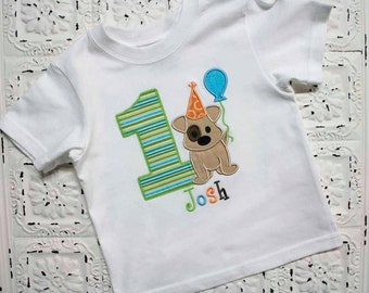 Puppy Dog First Second Third Birthday Shirt- Boys or Girls Colors Avail- Free Personalization