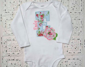 NEW, Personalized Shabby Bebe Vintage Style Initial or Birthday Number Shirt-Raggy Frayed Flower