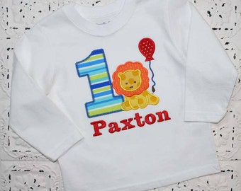 Personalized Birthday Shirt, Number, Monogrammed, Big Top Circus Lion, First, Second, Third Birthday Shirt