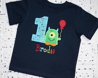 M2M Little Green Monster Birthday Shirt- Monogrammed-Your Choice of Letters or Numbers