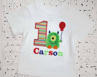 M2M Little Green Monster Birthday Shirt OR bodysuit -Monogrammed-Your Choice of Letters or Numbers