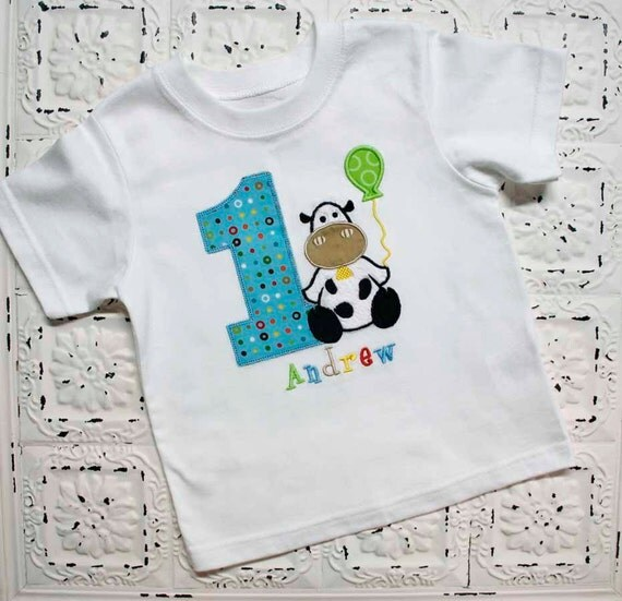 Farm Cow First Second Third Birthday Shirt Boys Or Girls