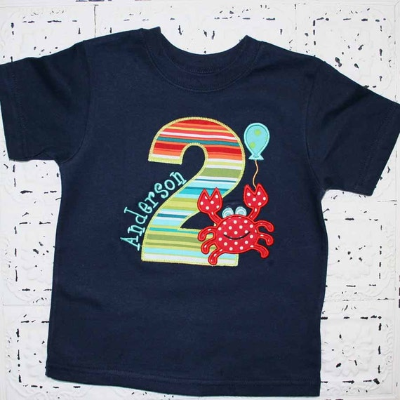 Boys or Girls Crab Birthday Applique Shirt- Free Personalization-- All birthday numbers are available