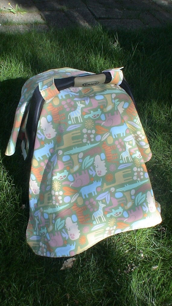 Three in ONE Combo. 2d Zoo in SAGE Green Car Seat Canopy Tent, Nursing Cover, and Blanket. Nursing/Bib Clip included. Great Price