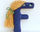 Letter F - Alphabet Stuffed Toy Knitting PATTERN - Fran