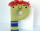 Letter P - Alphabet Stuffed Toy Knitting PATTERN - Paco