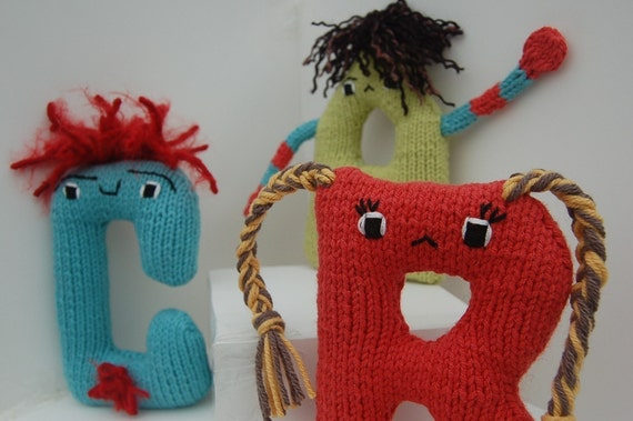 Knitting Patterns Plush Toys : Any 3 Alphabet Plush Toy Knitting PATTERNS by KnitKnoodler on Etsy