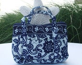 Gift for her---Chinese Blue Calico 'Get The Luck' Small Handbag\/pocketbook\/purse