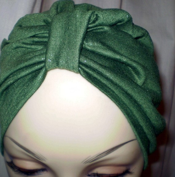 Shimmer Gold/Green Stretch Rayon Blend Jersey Turban Hat Alopecia Hijab Chemo - Ships Free in USA
