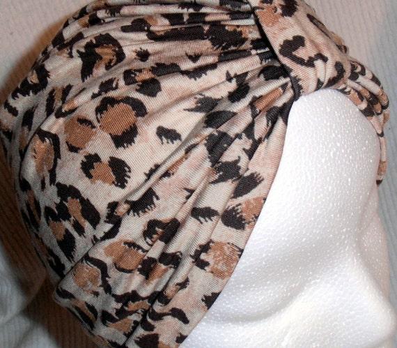 Tan Brown Cheetah Animal Print  Stretch Jersey Knit Chemo Turban Hat Alopecia Hijab - Free Shipping in USA
