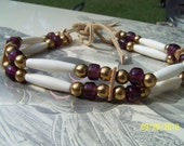 Non TraditionalTwo Row Purple And Brass Choker