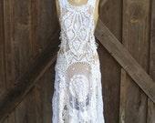 dress pinafore jumper vintage crochet lace doilies ooak