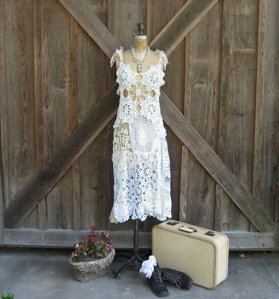 dress vintage crochet lace doilies ooak