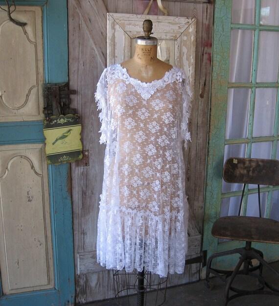 tunic/dress lace in white romantic