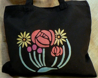 Medium Black Tote w/Rose and Flower Design