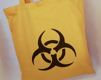 Medium Yellow Tote with Hazardous Material Screen Print