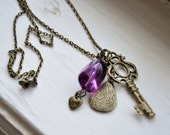 Antique Brass and Purple Cluster Charm Necklace