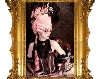 Rococo Pink Powdered Wig -La Reine- Pink Marie Antoinette Wig by Kathleen Marie