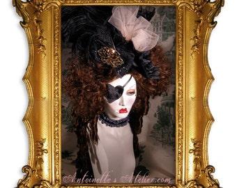 Rococo Wig-Constanze Mozart-Marie Antoinette style dark brown wig by Kathleen Marie
