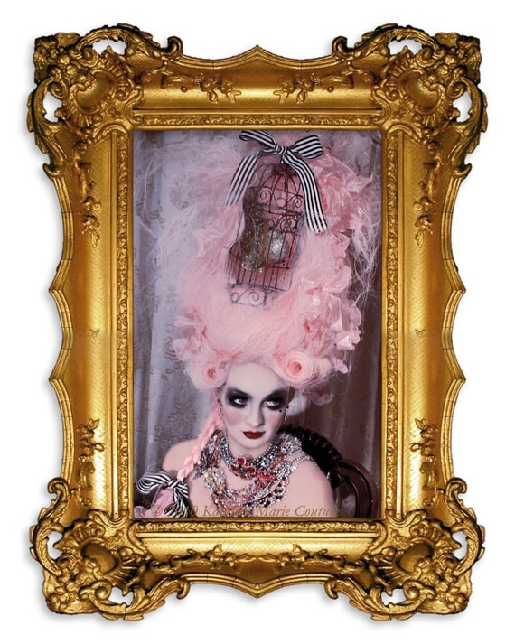 Pink Rococo Powdered Wig- La Aprella-Ornate Gilded Birdcage Marie Antoinette Wig by Kathleen Marie Couture