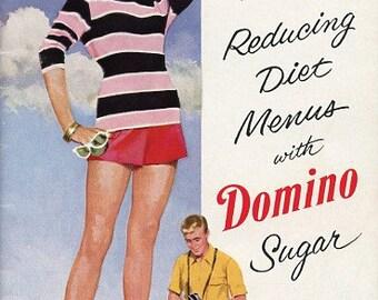 Vintage Cookbook - 1954 New Reducing Diet Menus With Domino Sugar